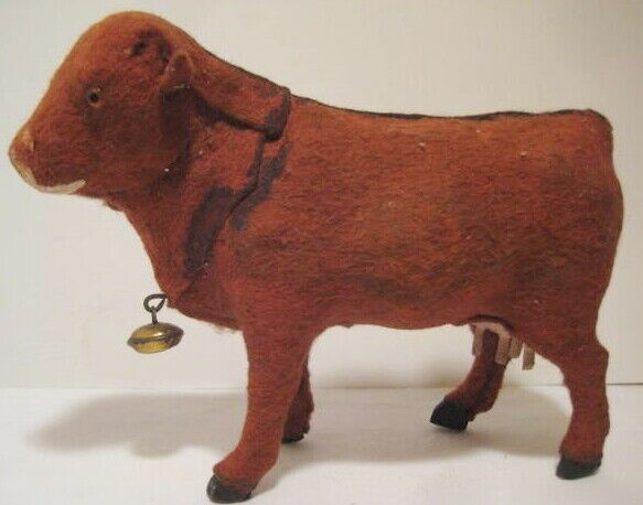 Old German Composition & Felt Cow w/ Bell & Glass Eyes Christmas Putz Village