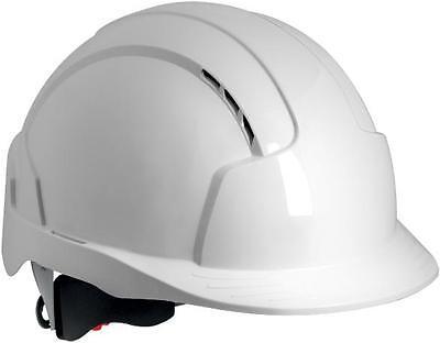 JSP EVOLite® wheel ratchet vented white safety helmet mid peak hard hat