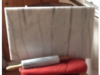Marble Pastry board and rolling pin.
