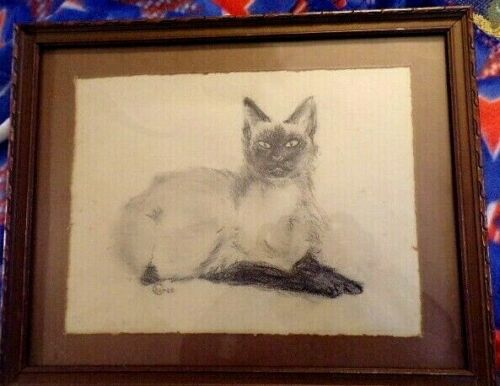 """Vintage Charcoal Siamese Cat Drawing Picture (Matted & Framed 15"""" x 12"""" Signed"""