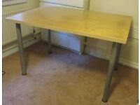 Large Ikea Desk - Light wood top with chrome legs - 80 x 120 cm - £15 O.N.O