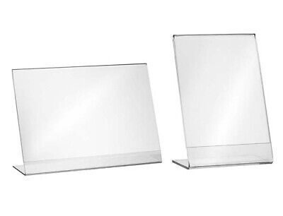 1,5,10, L- Ständer 9x5 cm / Flyer - Aufsteller Preisschildhalter Werbung Acryl
