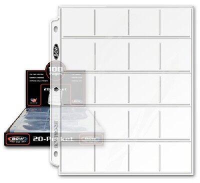 100 Pocket Album - 100 BCW 20 Pocket Album Pages Sheet For 2X2 Coin Flips Holder Pogs Slide Storage