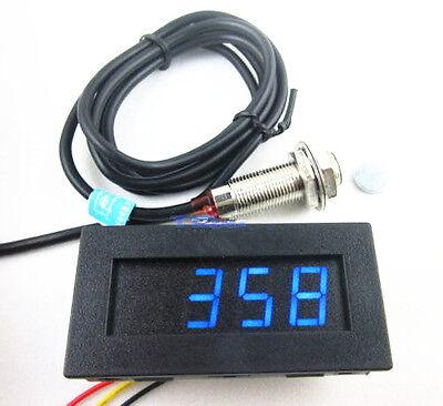 Digital Blue Led Tachometer Rpm Speed Meter Hall Proximity Switch Sensor Npn