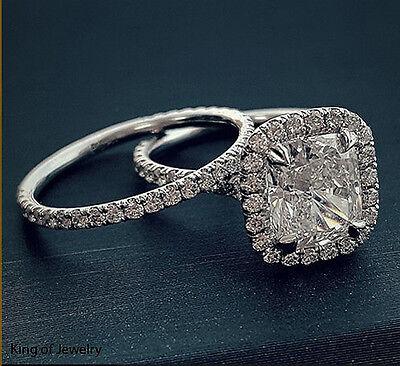 Gorgeous 4.18 Ct Halo Cushion Cut Diamond U-Setting  Bridal Ring Set G,VS2 GIA