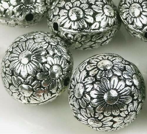8 Large Antique Silver Metal Plated Acrylic Flower Flat Round Beads 19mm