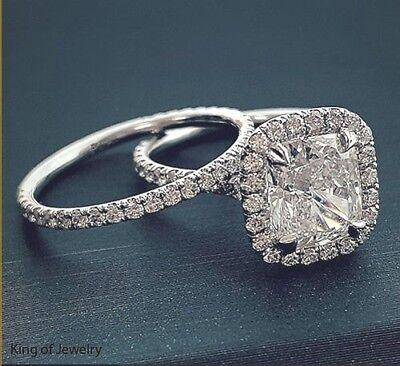 All Natural 3.18 Ct Halo Cushion Cut Diamond Engagement Ring Set E,VVS2 GIA 18K