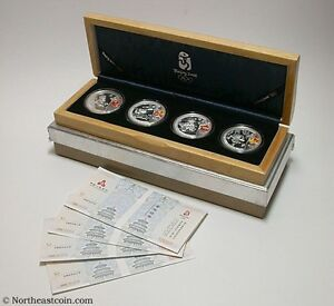 2008 China Beijing Olympics 4 Coin Silver 10 Yuan Set Proof