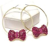 Pink Crystal Hoop Earrings