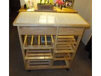 Tiled Top Kitchen Cart
