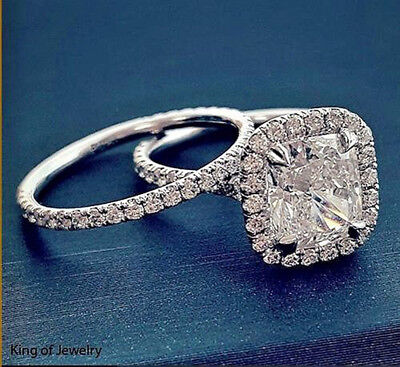 Real 2.68 Ct Cushion Cut Halo U-Setting Diamond Bridal Ring Set H,VVS2 GIA 14K