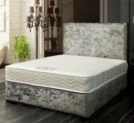Silver Crushed Velvet Fabric Upholstered Bed 3FT Single