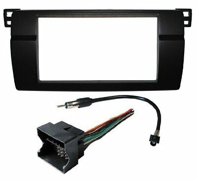 Double Din Radio Install Dash Kit Bezel Wire Harness Adapter fits 2002-2006 BMW