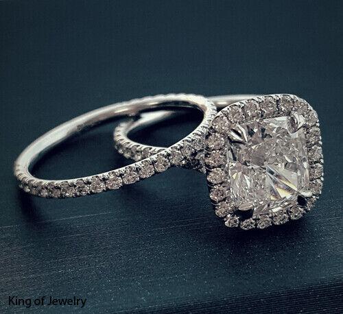 Beautiful 2.08 Ct Cushion Cut Halo Round Diamond Engagement Bridal Set I, IF GIA 4