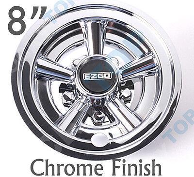 "EZGO OEM Golf Cart 8"" Chrome Wheel Covers Hub Caps Set of 4"
