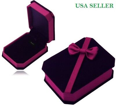 Gift Box Deluxe Butterfly VELVET Necklace Pendant Earrings Presentation Jewelry (Necklace Boxes)