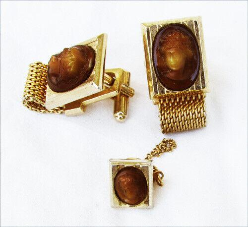 Hickok Athena cameo cufflinks mesh wrap around & tie tack gold tone vintage set