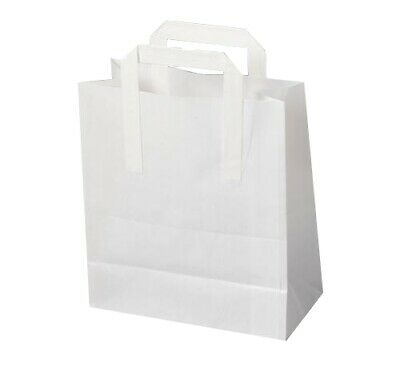 WHITE PAPER SOS FOOD CARRIER BAGS WITH HANDLE TAKEAWAY 260x100x330mm