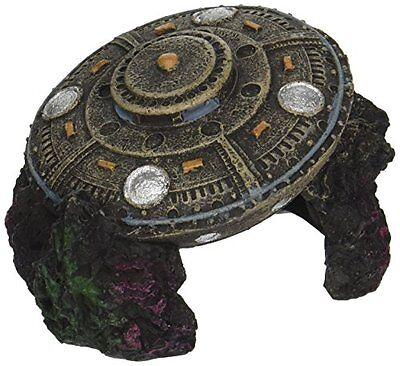 Fish Tank Decoration decor UFO with Cave Aquarium Ornament Spaceship new