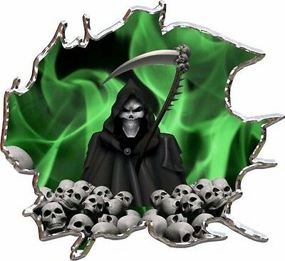 Green flame grim reaper skulls race car go kart vinyl graphic decal - Green Racing Car
