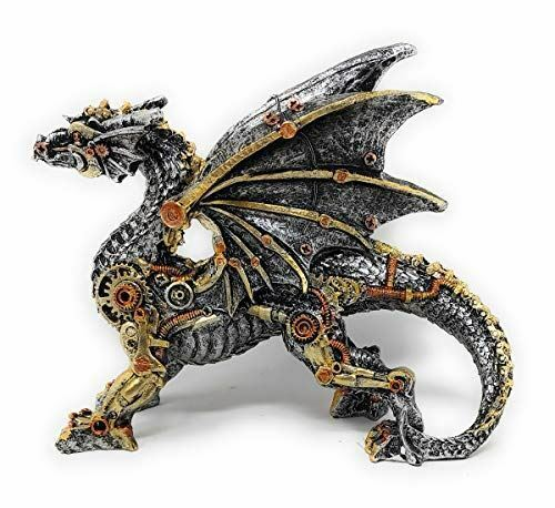 """Steampunk Dragon Large Hand Painted Silver Gold Copper Figurine 9.5"""" X 13"""" sf78"""