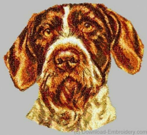 Embroidered Short-Sleeved T-Shirt - German Wirehaired Pointer DLE1543