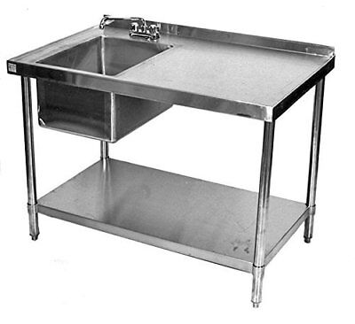 24x48 All Stainless Steel Kitchen Work Table With Prep Sink On Left Wfaucet