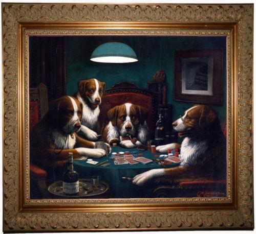 Dogs Playing Poker Framed Picture