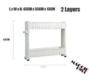 Kitchen Bathroom Laundry Storage trolley Shelf Rack Wheel Space Saver 2 3 4 tier