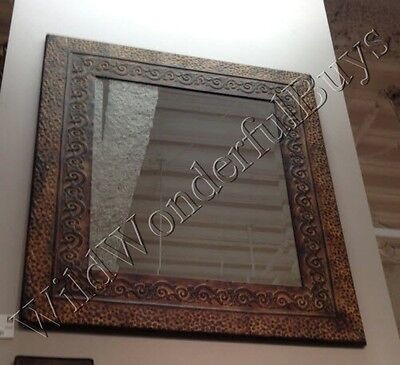 Embossed Hammered Metal Wall Mirror Rectangular Antique ...