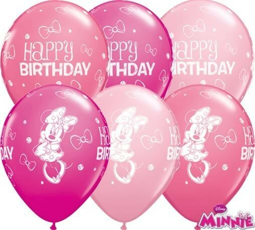 "25 x 11"" Minnie Mouse Happy Birthday Latex Balloons Ideal Party Decoration"