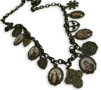 Catholic Vintage Scapular Medal Cross 4-Way Sacred Virgin St. Mary Necklace