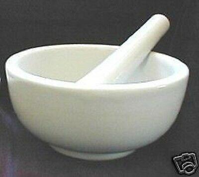BRAND NEW WHITE PORCELAIN MORTAR AND PESTLE,  SHIPS FAST FRO