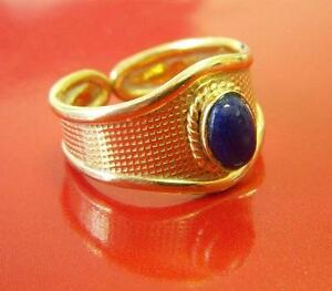 Estate-14k-Yellow-Gold-Blue-LAPIS-Wide-Cigar-Band-Ring-Open-Back-Italy