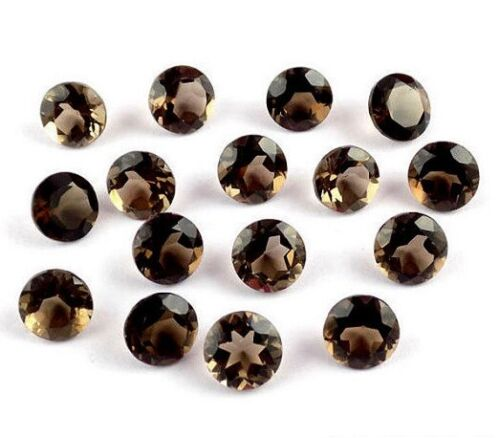 Natural Smoky Quartz 3mm To 20mm Round Faceted Cut loose Gemstone BIG Mix