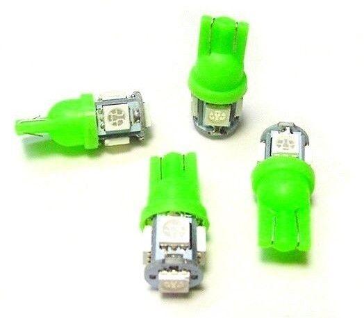 4 BRIGHT Green 5 LEDs 12V Side Marker License Plate Clock Dash Lights Bulbs Ford