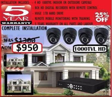 High Definition Security Cameras 4x 1080dpi Infrared CCTV Package Melbourne CBD Melbourne City Preview