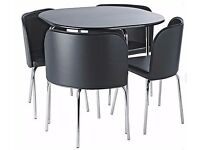 Dining Table (Hygena Amparo Black Dining Table and 4 Black Chairs)