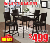 Nyla 5pc Pub Table Set Now On Clearance for $499 Tax Included!