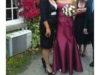 Bridesmaid prom dress red satin fishtail dress