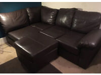L shape chocolate brown leather sofa - excellent condition
