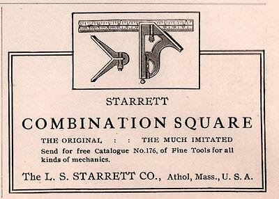 1915 ADS L S STARRETT CO ATHOL COMBINATION SQUARE
