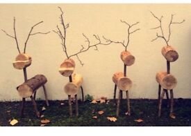 Handmade Natural Log stags