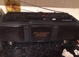 HITACHI RADIO 3D Bass Super Woofer Dual Enclosure System, Full Auto Stop Double.