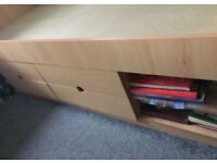 Childs Bed with Drawers and Shelves no mattress. Beech effect Can Deliver
