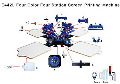 4 Color 4 Station Micro Registration Silk Screen Printing Machine T-shirt Print