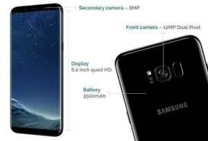New Samsung Galaxy S8 Plus 64GB Midnight black box open no accessori