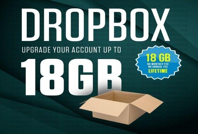 servizio a vita di spazio di aggiornamento di dropbox 18 GB in un giorno⭐