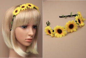 Narrow black ribbon wrapped aliceband with sunflower - JTY395