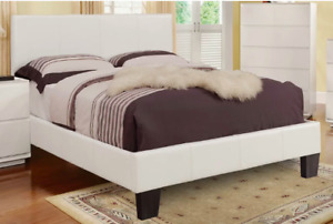 Double bed WHITE LEATHER style 200$